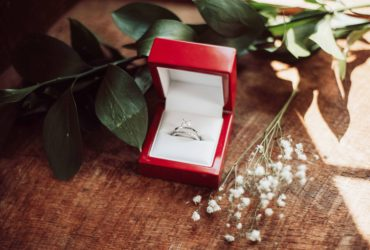 Engagement ring in a red box