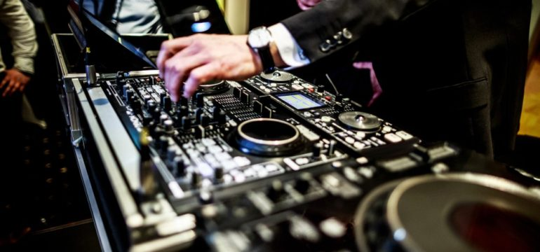 DJ mixing at a wedding