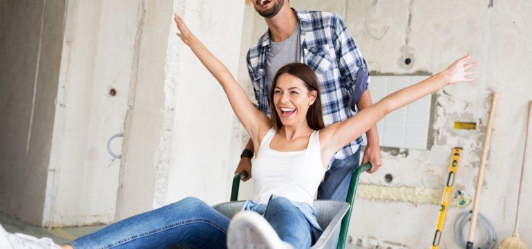 Happy couple starting renovations