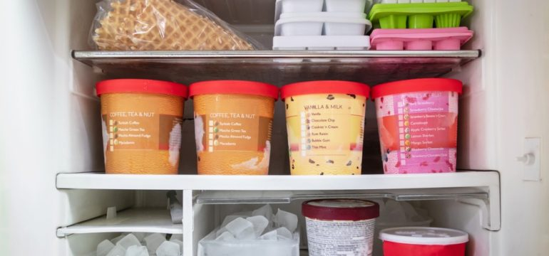 Inside a freezer