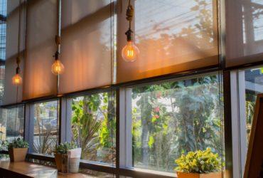 Roller blinds at a cafe.