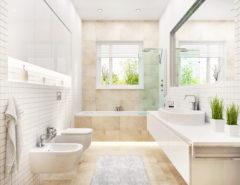 A modern bathroom with a bidet