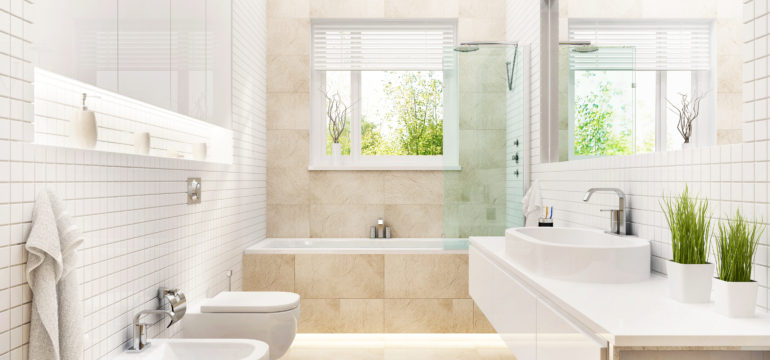 A modern bathroom with a bidet